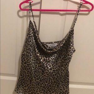 Princess Polly cowl neck cheetah silky cami